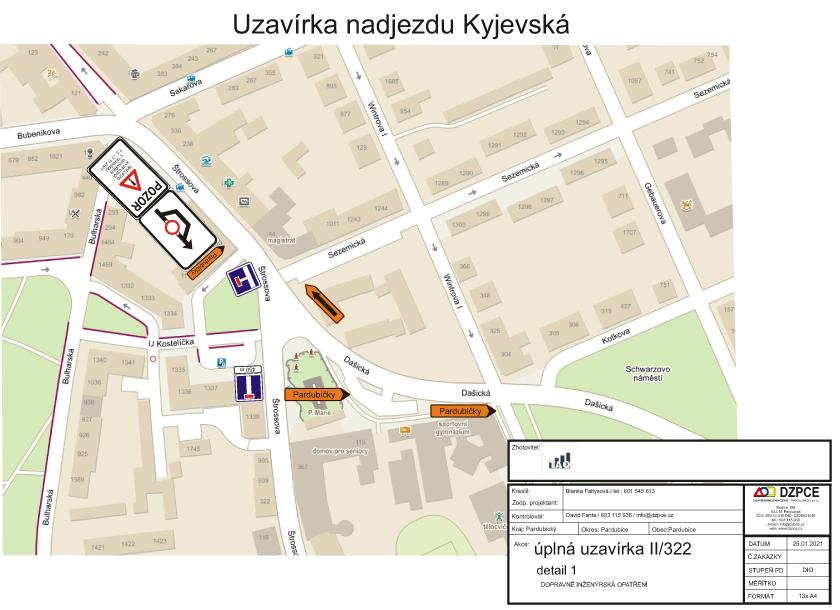 Rekonstrukce nadjezdu u Nemocnice - Kyjevská - DOPRAVA dokumentace