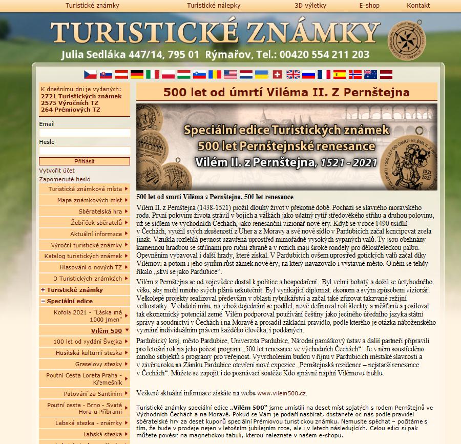 web Turistické známky