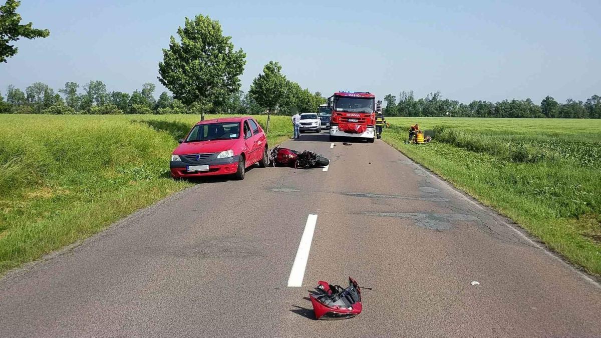 Dopravní nehoda motorkáře a osobního vozu ve Slatiňanech...