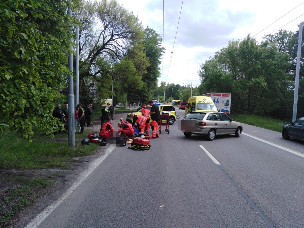 Nehoda motorkáře v Rybitví - Foto: Policie ČR