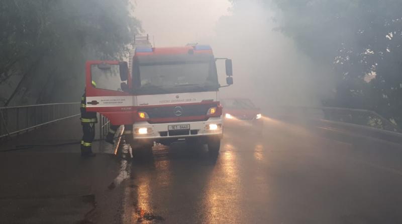 Požár v Klášterní ulici pod mostem…